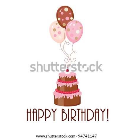 Birthday Cake Balloons Text Stock Vector Royalty Free 94741147