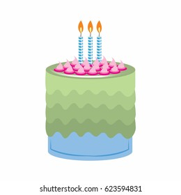 birthday cake with beautiful garnish and candles. vector illustration