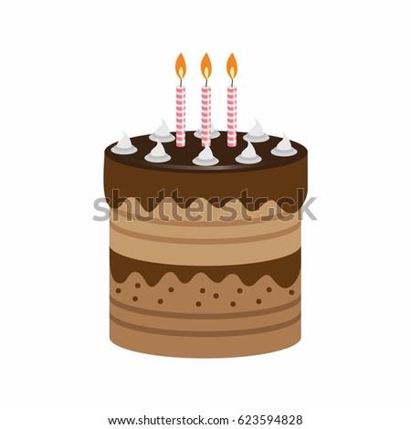 Birthday Cake Beautiful Garnish Candles Vector Stock Vector Royalty