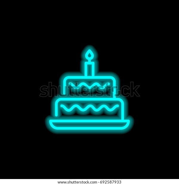 Remarkable Birthday Cake Blue Glowing Neon Ui Stock Vector Royalty Free Funny Birthday Cards Online Alyptdamsfinfo