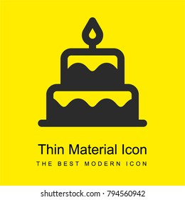 Birthday cake bright yellow material minimal icon or logo design