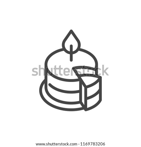 Birthday Cake Burning Candle Outline Icon Stock Vector Royalty Free