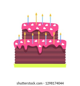 Birthday cake with burning candles vector isolated icon. Sweet dessert with pink topping and marshmallows, Bday holiday or anniversary traditional confectionery