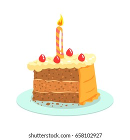 Birthday cake with candle, celebration party symbol cartoon vector Illustration