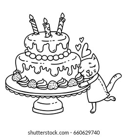 birthday cake candle cute cat 260nw