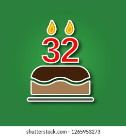 Birthday Cake With A Candle In The Form Of Number 32