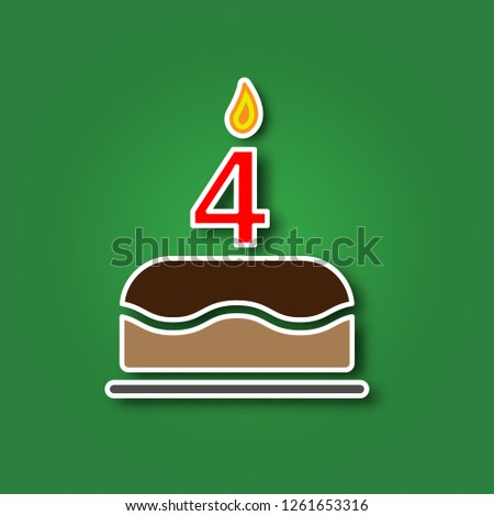 Birthday Cake With A Candle In The Form Of Number 4