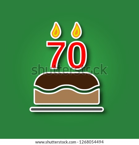 Birthday Cake With A Candle In The Form Of Number 70