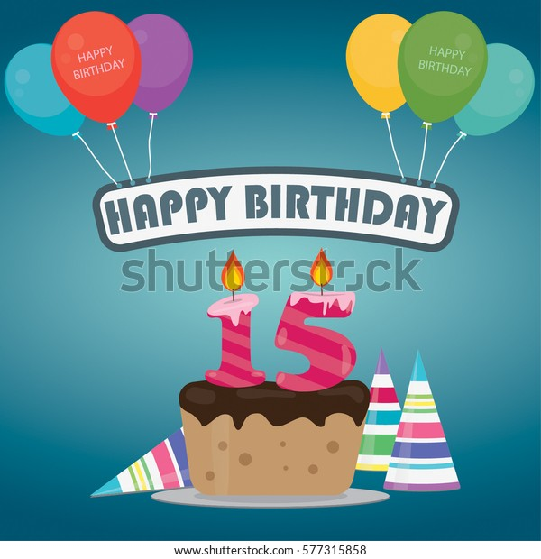 Prime Birthday Cake Candle Number 15 Flat Stock Vector Royalty Free Funny Birthday Cards Online Amentibdeldamsfinfo