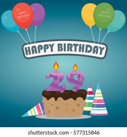 Birthday cake with a candle number 29 in flat style for birthday party invitation and cards design 29th bithday