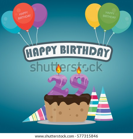 Birthday cake with a candle number 29 in flat style for birthday party invitation and cards design 29th bithday - Vector
