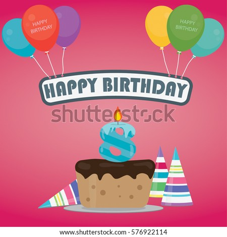 Birthday Cake With A Candle Number 8 In Flat Style For Party Invitation And Cards