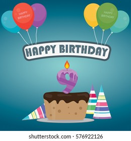 Birthday cake with a candle number 9 in flat style for birthday party invitation and cards design 9th bithday