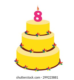 Swell 8Th Birthday Cake Stock Vectors Images Vector Art Shutterstock Funny Birthday Cards Online Benoljebrpdamsfinfo