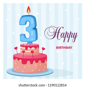 Awe Inspiring Birthday Cake 3 Year Images Stock Photos Vectors Shutterstock Funny Birthday Cards Online Overcheapnameinfo