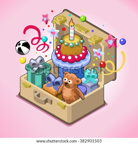 Birthday Cake With Candle Presents Toys Confetti And Streamers Pops Out Of An