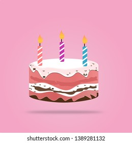 Birthday cake with candle vector design isolated on pink background. illustration