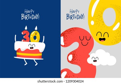 Birthday cake, Birthday candles, 30 years, anniversary, funny Happy birthday card. Vector illustration. Use for card, poster, banner, web design and print on t-shirt. Easy to edit.