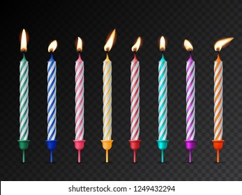 Birthday cake candles with burning flames isolated on dark transparent background. Vector design elements
