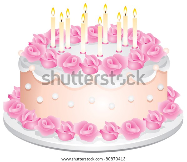 Surprising Birthday Cake Candles Cream Roses Vector Stock Vector Royalty Funny Birthday Cards Online Fluifree Goldxyz