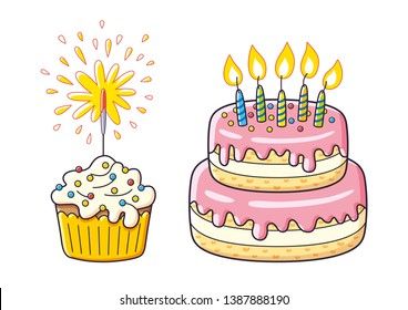 Birthday cake with candles and cupcake with sparkler isolated