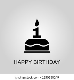 The birthday cake with candles in the form of number 1 icon. Happy Birthday concept symbol design. Stock - Vector illustration can be used for web