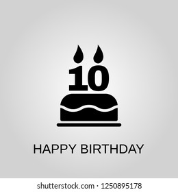 The birthday cake with candles in the form of number 10 icon. Happy Birthday concept symbol design. Stock - Vector illustration can be used for web