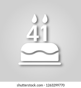 Birthday cake with candles in the form of the number 41 figure cut out of paper icon. Happy Birthday concept symbol design. Can be used for web