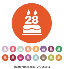 The birthday cake with candles in the form of number 28 icon. Birthday symbol. Flat Vector illustration. Button Set