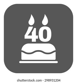 The birthday cake with candles in the form of number 40 icon. Birthday symbol. Flat Vector illustration. Button