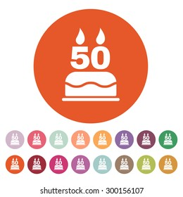 The birthday cake with candles in the form of number 50 icon. Birthday symbol. Flat Vector illustration. Button Set