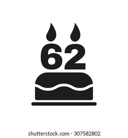 The birthday cake with candles in the form of number 62 icon. Birthday symbol. Flat Vector illustration