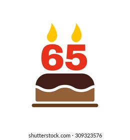 The birthday cake with candles in the form of number 65 icon. Birthday symbol. Flat Vector illustration