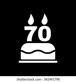 The birthday cake with candles in the form of number 70 icon. Birthday symbol. Flat Vector illustration