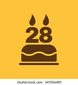 The birthday cake with candles in the form of number 28 icon. Birthday symbol. Flat Vector illustration