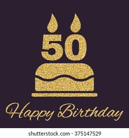 The birthday cake with candles in the form of number 50 icon. Birthday symbol. Gold sparkles and glitter Vector illustration