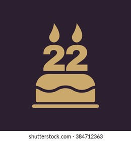 The Birthday Cake With Candles In Form Of Number 22 Icon Symbol