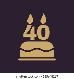 The birthday cake with candles in the form of number 40 icon. Birthday symbol. Flat Vector illustration