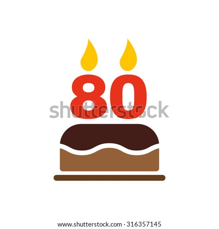 The Birthday Cake With Candles In Form Of Number 80 Icon Symbol