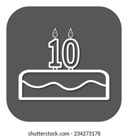 Birthday cake with candles number 10. Vector. Flat