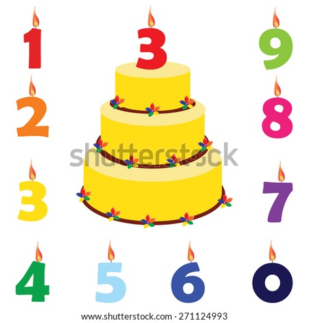 Birthday Cake With Candles Numbers One Two Three Four Five