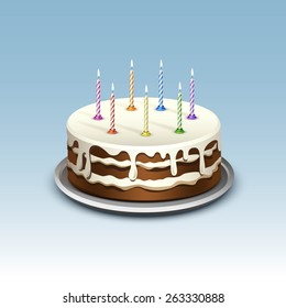 Birthday Cake with Candles Numerals Flame Fire Light. Isolated on Background. Realistic Vector Illustration