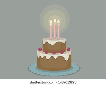 Birthday cake with candles on a dark background, vector illustration.