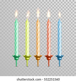 Birthday cake candles. Vector candles with burning flames of wax paraffin
