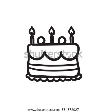 Hand Drawn Birthday Cake With Candles Icon Sketch For Infographic Website Or App