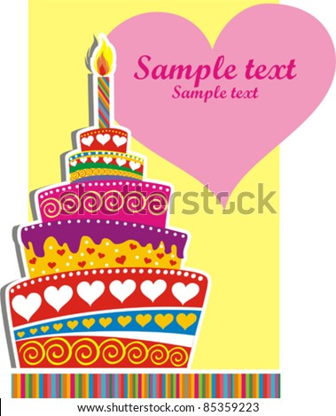Birthday Cake Card With Place For Your Text Vector Illustration