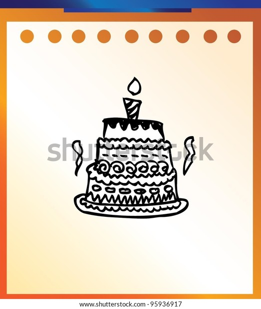 Astounding Birthday Cake Cartoon Cute Doodle Stock Vector Royalty Free 95936917 Funny Birthday Cards Online Overcheapnameinfo