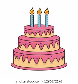 Birthday cake cartoon illustration
