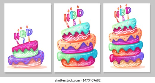 birthday cake cartoon set vector illustration