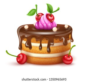Birthday cake with chocolate creme and red cherries fruits. Sweet dessert food for holiday celebration or children party. Isolated on white transparent background. Eps10 vector illustration.